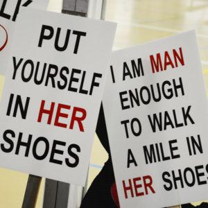 Walk A Mile Signs Closeups
